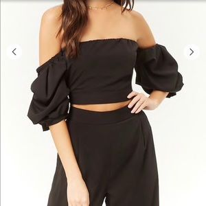 Off-the-Shoulder Crop Top & Wide-Leg Pants Set